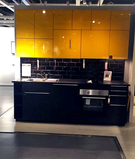 Modular Kitchen With Black Tiles and Yellow Cabinets by Mangesh Mestry Modular-kitchen Modern | Interior Design Photos & Ideas