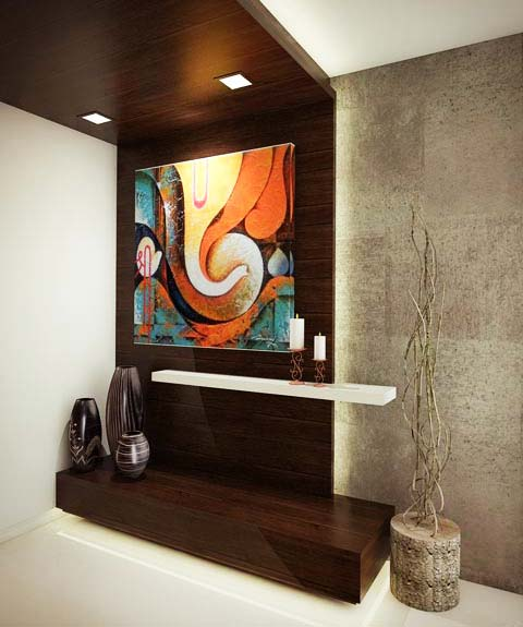 Wooden Display Unit With Abstract Modern Art by Mangesh Mestry Living-room Contemporary | Interior Design Photos & Ideas