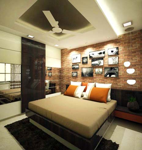 Bedroom With Brick Finish Wall With Pictures by Mangesh Mestry Bedroom Modern | Interior Design Photos & Ideas