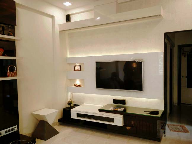 White Themed Living Room With Wood Details by Mangesh Mestry Living-room Modern | Interior Design Photos & Ideas