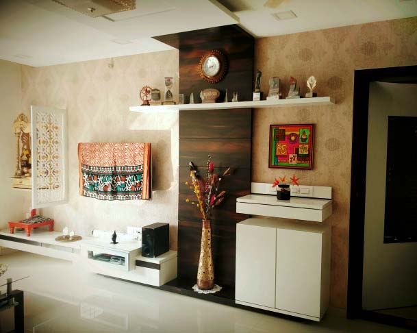 Wooden Display Unit With Golden Textured Wall by Mangesh Mestry Living-room Contemporary | Interior Design Photos & Ideas