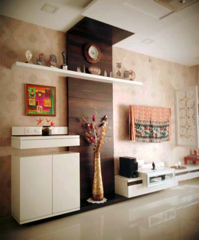Beige Textured Wall Living Room With Wooden Display by Mangesh Mestry Living-room Modern | Interior Design Photos & Ideas