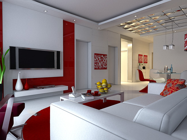 Red and white spacious living room by Paper Space Architects Living-room | Interior Design Photos & Ideas