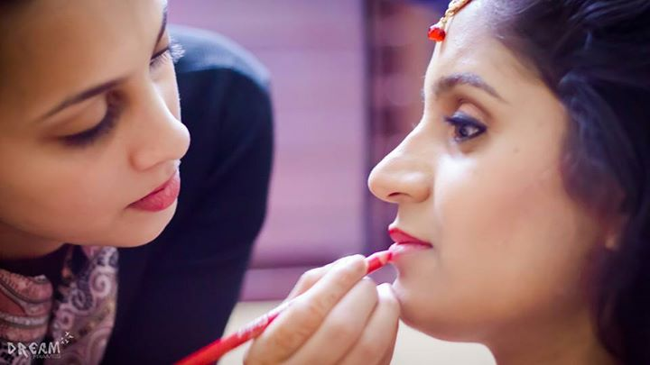Bride getting ready shot by Raghavendra Bridal-makeup | Weddings Photos & Ideas