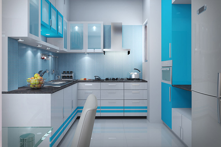 L shaped blue and white kitchen by Mehul Diwani Modular-kitchen | Interior Design Photos & Ideas