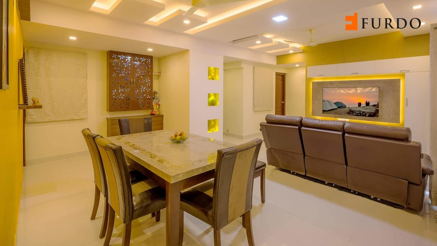 Small dining table by Mehul Diwani Living-room | Interior Design Photos & Ideas