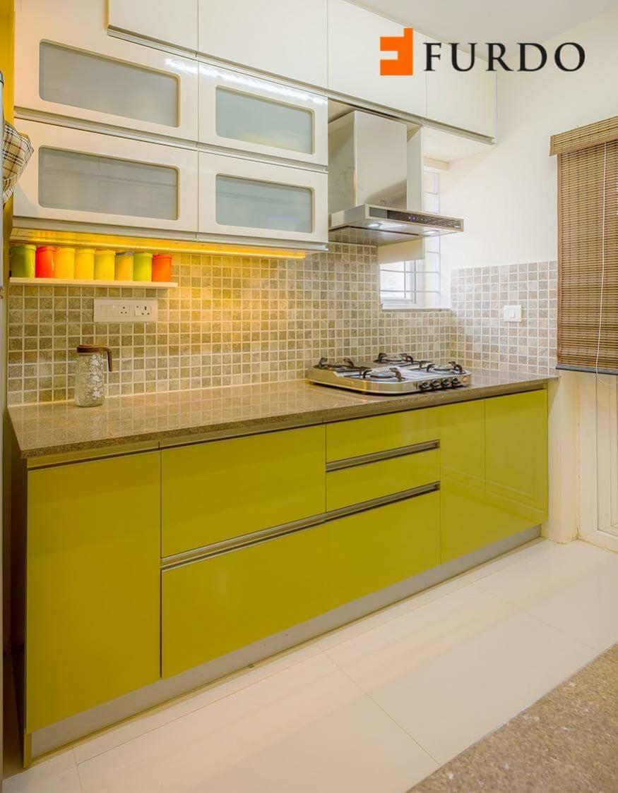 Olive green kitchen by Mehul Diwani Modular-kitchen | Interior Design Photos & Ideas