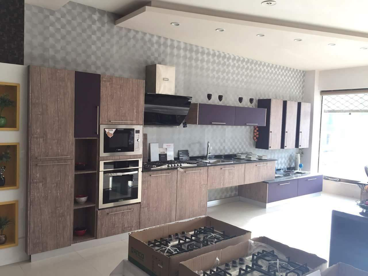 Brown and purple modular kitchen by Mehul Diwani Modular-kitchen | Interior Design Photos & Ideas