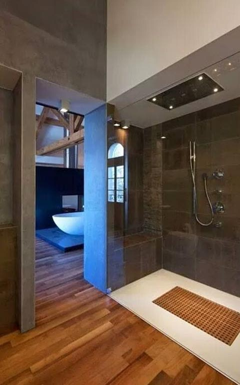 Light Brown And Coyote Shaded Bathroom With Wooden Floor by Sanjiv Bhalla Bathroom Minimalistic | Interior Design Photos & Ideas