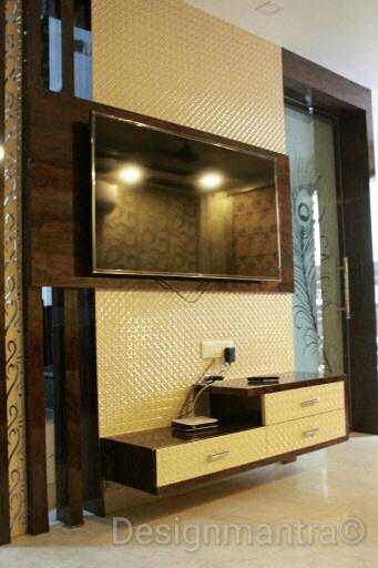 Plush TV cabinet decor by Designmantra Living-room | Interior Design Photos & Ideas