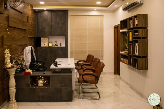 Leather finish closed style office interiors by Designmantra | Interior Design Photos & Ideas