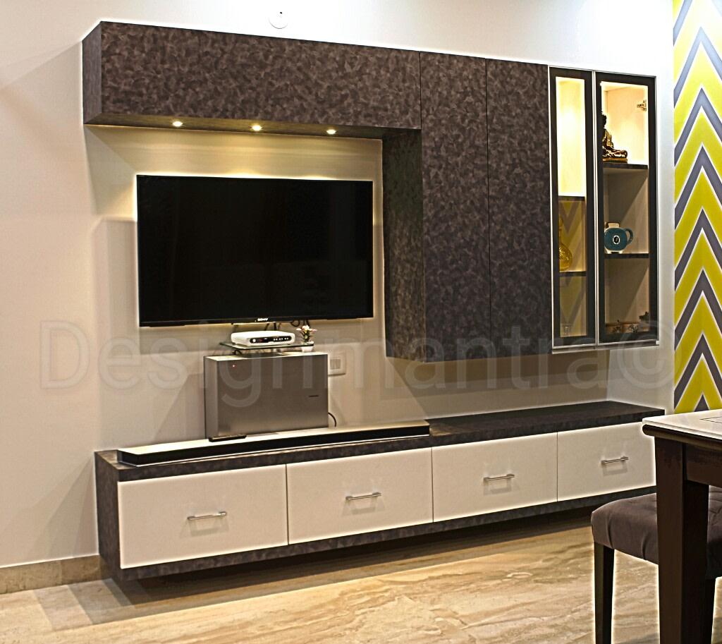 Elegant TV cabinet decor by Designmantra Living-room | Interior Design Photos & Ideas