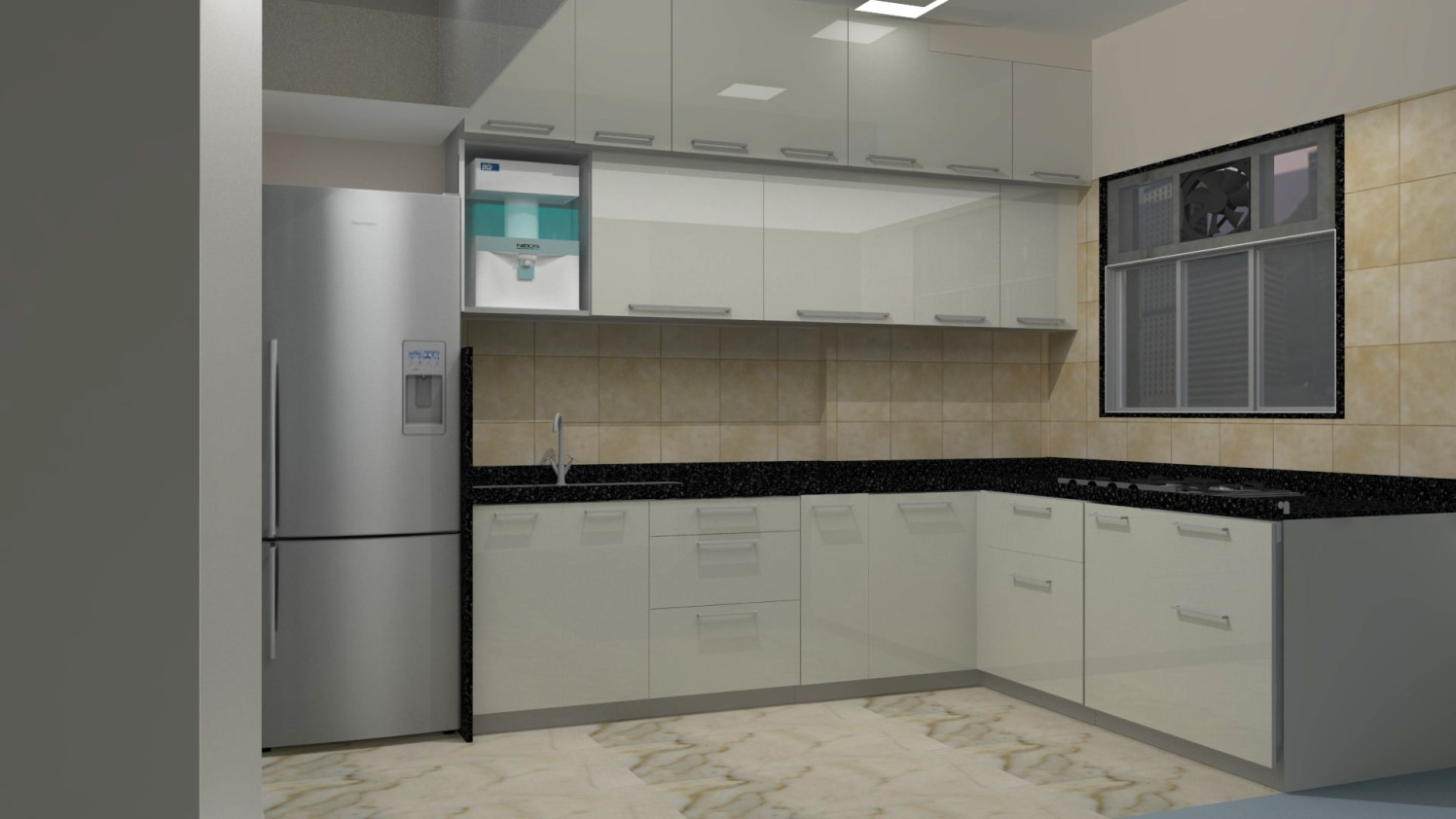 L-shaped modular kitchen design by Creative Vertex design  Modular-kitchen | Interior Design Photos & Ideas