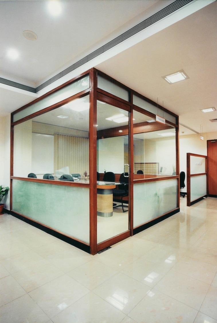 Glass Cabin Office Room With Wooden Frame by Amish Rathod Modern | Interior Design Photos & Ideas