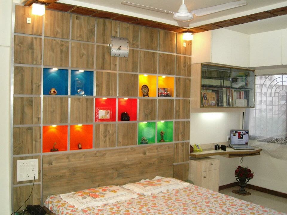 Bedroom With Pop Colour Wooden Wall by Amish Rathod Bedroom Modern | Interior Design Photos & Ideas