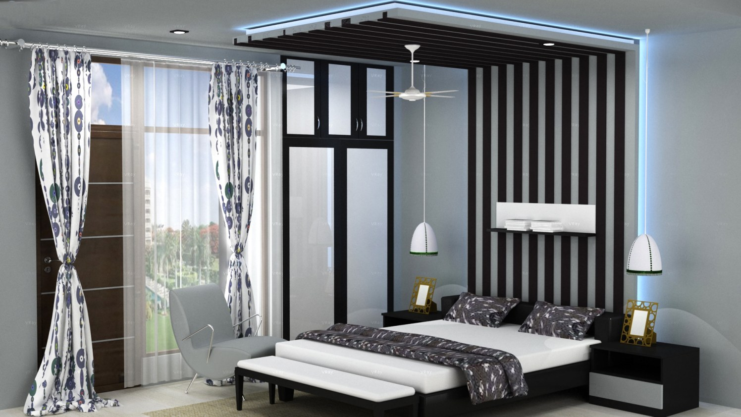 Black and white hues in a bedroom! by The Midas Touch Interiors Bedroom | Interior Design Photos & Ideas
