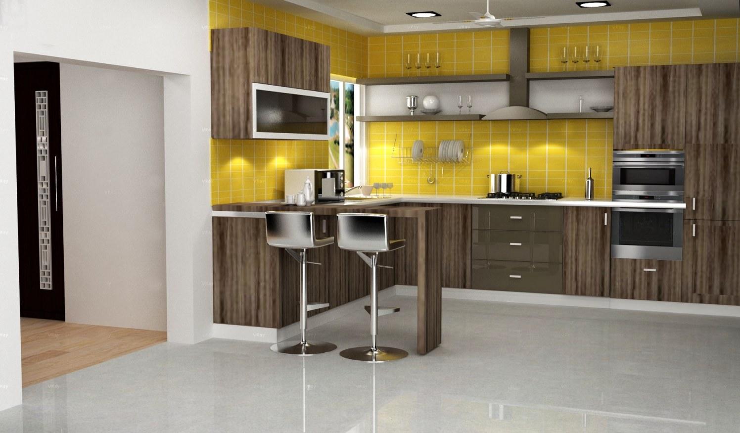 3D design of contemporary kitchen! by The Midas Touch Interiors Modular-kitchen | Interior Design Photos & Ideas