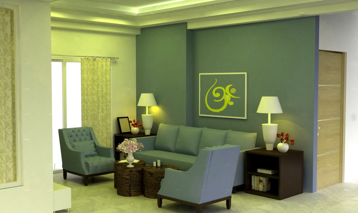Living room 3D design! by The Midas Touch Interiors Living-room | Interior Design Photos & Ideas