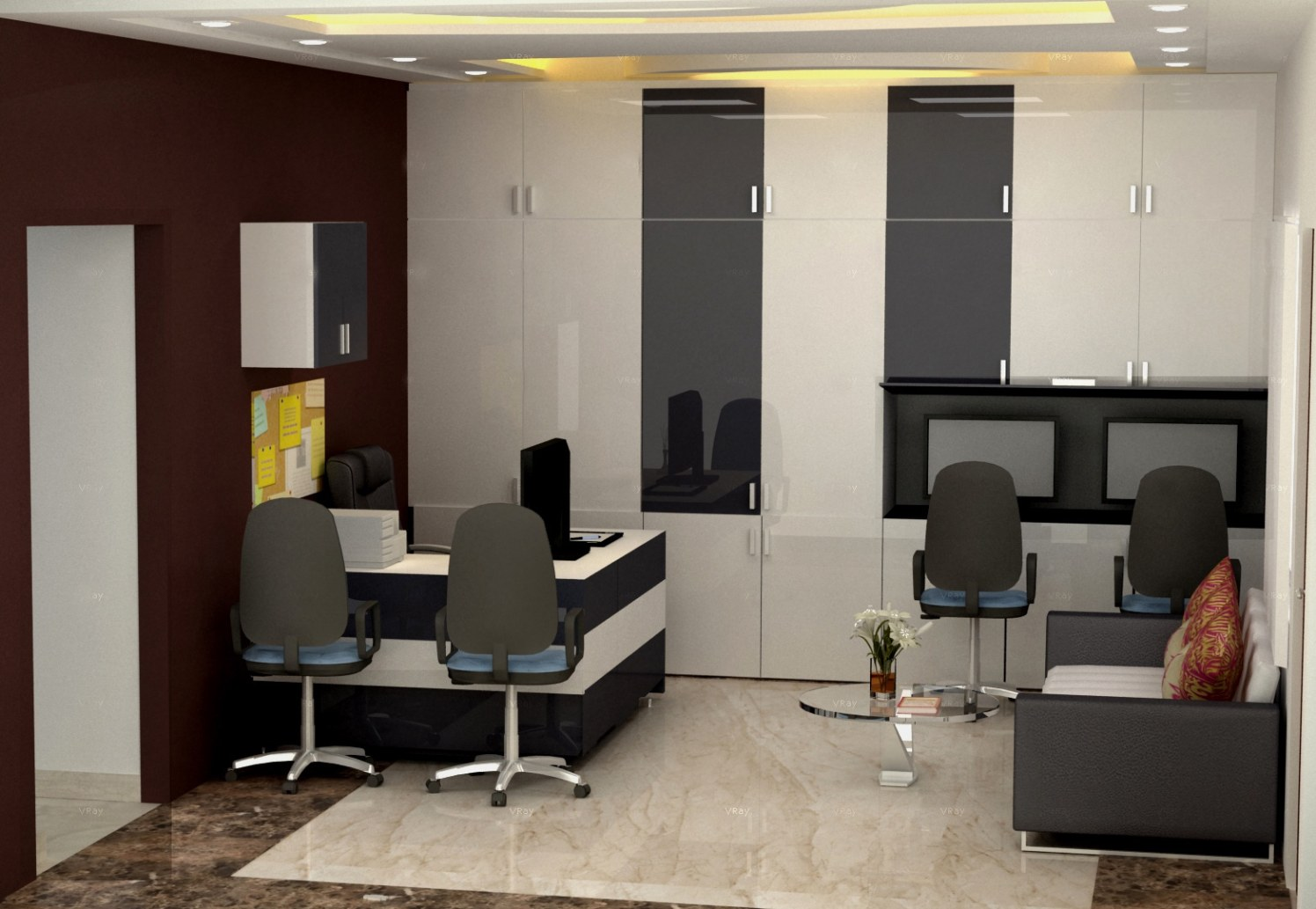 Modern office space! by The Midas Touch Interiors | Interior Design Photos & Ideas