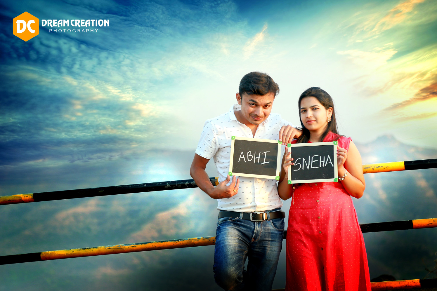Stellar couple posing in front of the blue skies by Dream creation Omerga Wedding-photography | Weddings Photos & Ideas