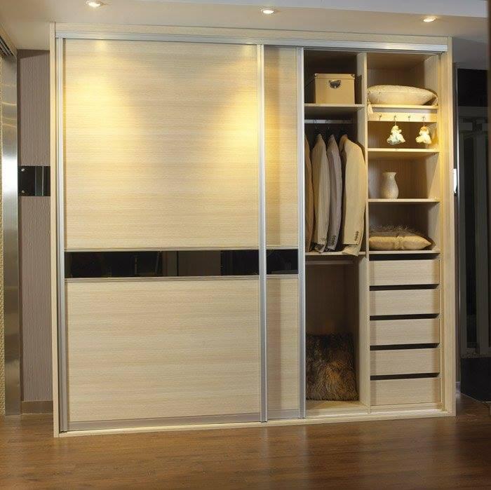 Beige Sliding Wardrobe by Snigdha Ghosh Bedroom Contemporary | Interior Design Photos & Ideas