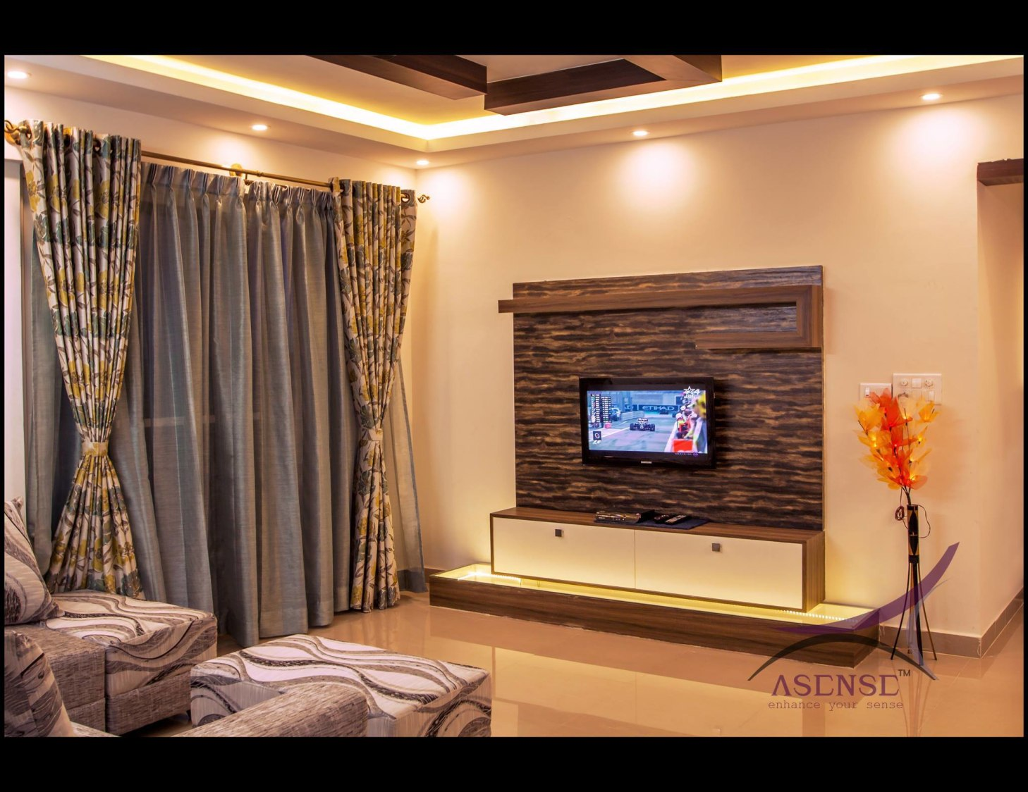 Dark Walnut Wooden Television Cabinet by Snigdha Ghosh Living-room Contemporary | Interior Design Photos & Ideas