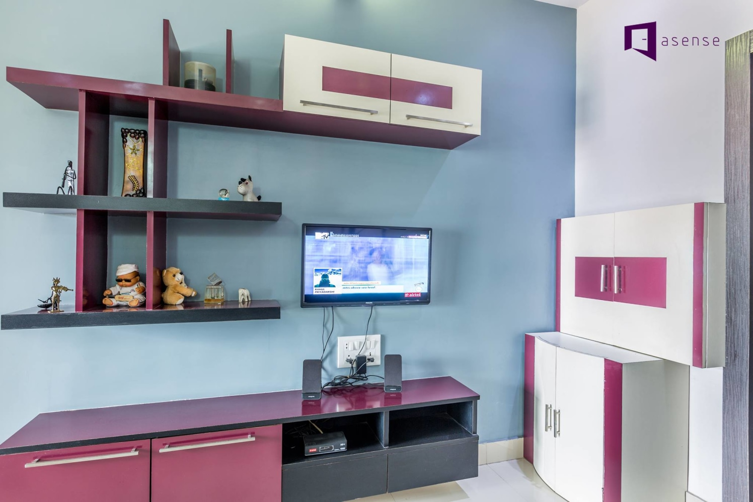 Pink And White Wooden Television Cabinet by Snigdha Ghosh Living-room Contemporary | Interior Design Photos & Ideas