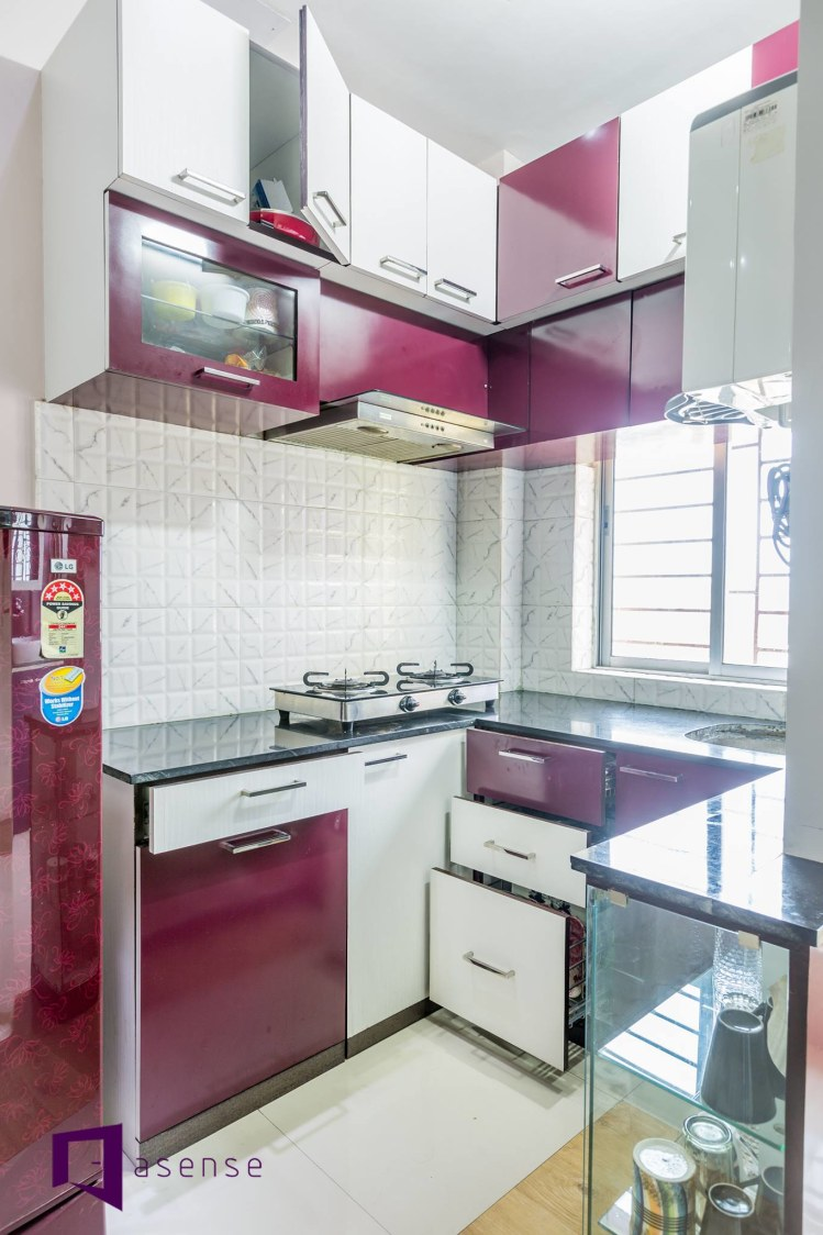 Purple And White Themed Modular Kitchen by Snigdha Ghosh Modular-kitchen Contemporary | Interior Design Photos & Ideas