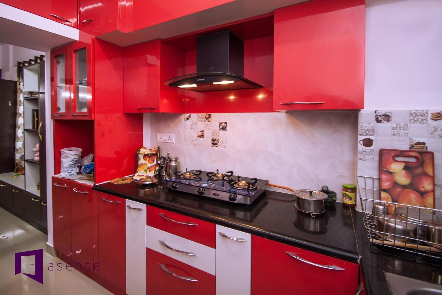 RedAnd White Themed Modular  Kitchen by Snigdha Ghosh Modular-kitchen Contemporary | Interior Design Photos & Ideas