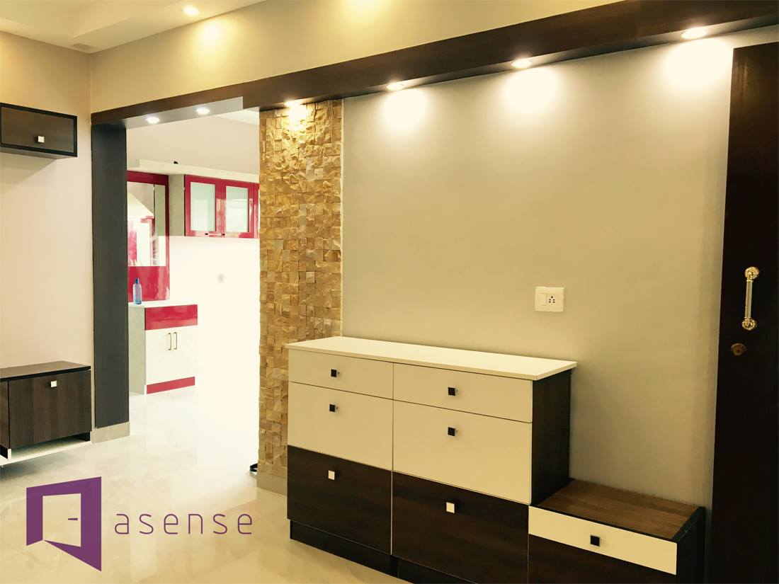 White And Brown Themed Hallway by Snigdha Ghosh Indoor-spaces   Interior Design Photos & Ideas