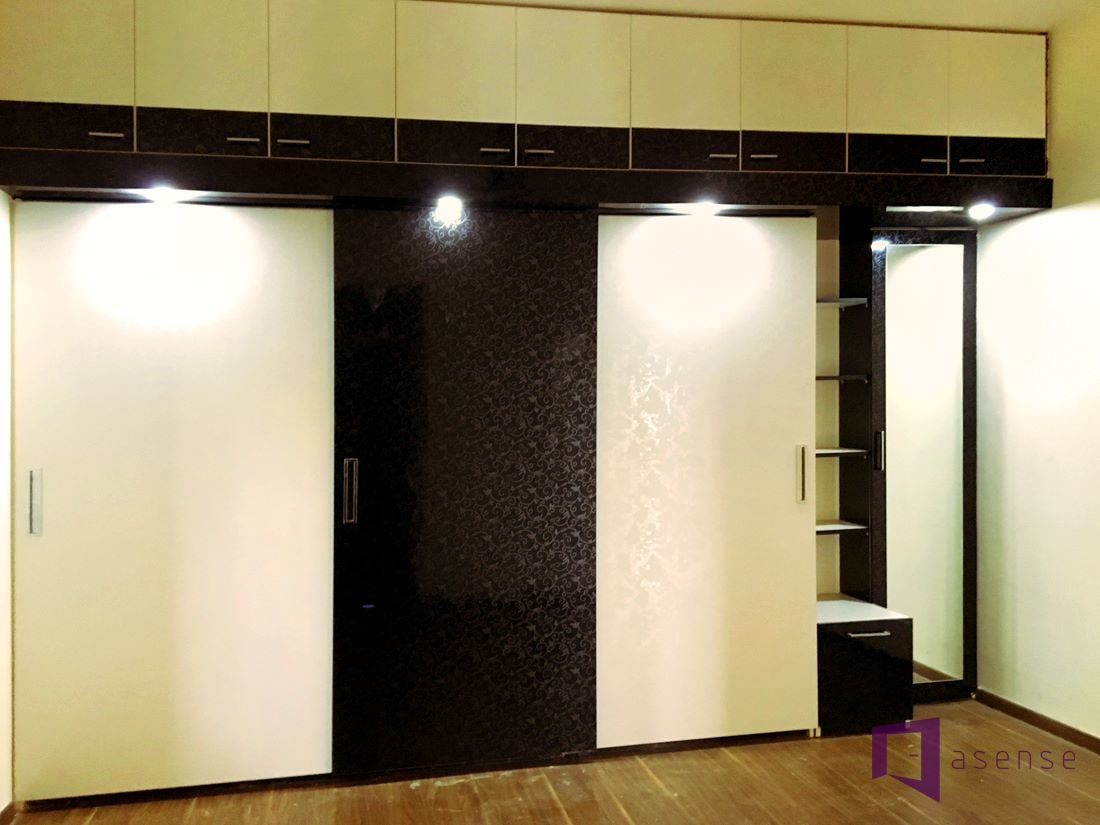 Black and White Wardrobe by Snigdha Ghosh Bedroom Contemporary | Interior Design Photos & Ideas
