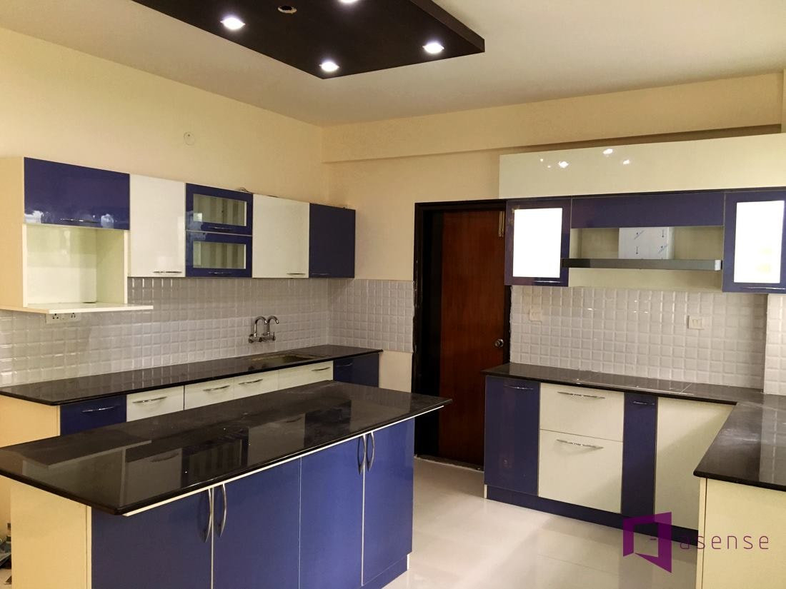 Blue And White Themed Kitchen by Snigdha Ghosh Modular-kitchen Contemporary | Interior Design Photos & Ideas