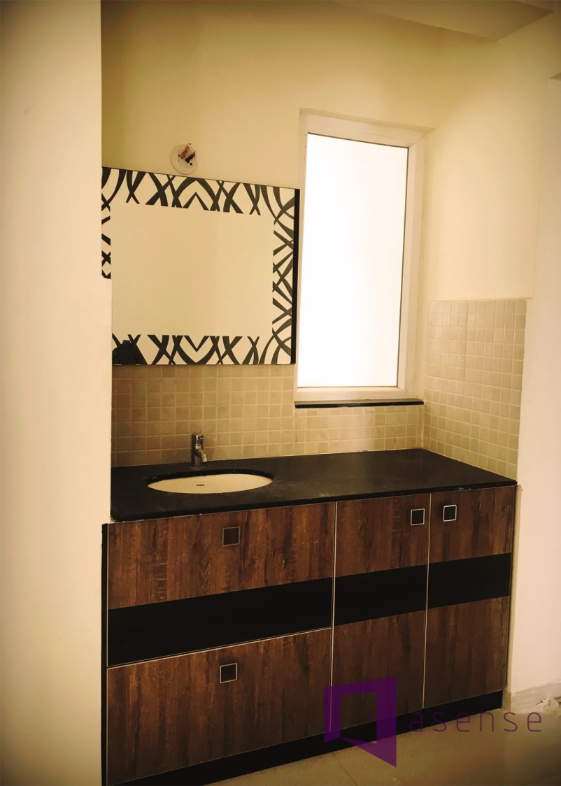 Bathroom With Wooden Cabinets And Square Mirror by Snigdha Ghosh Bathroom | Interior Design Photos & Ideas