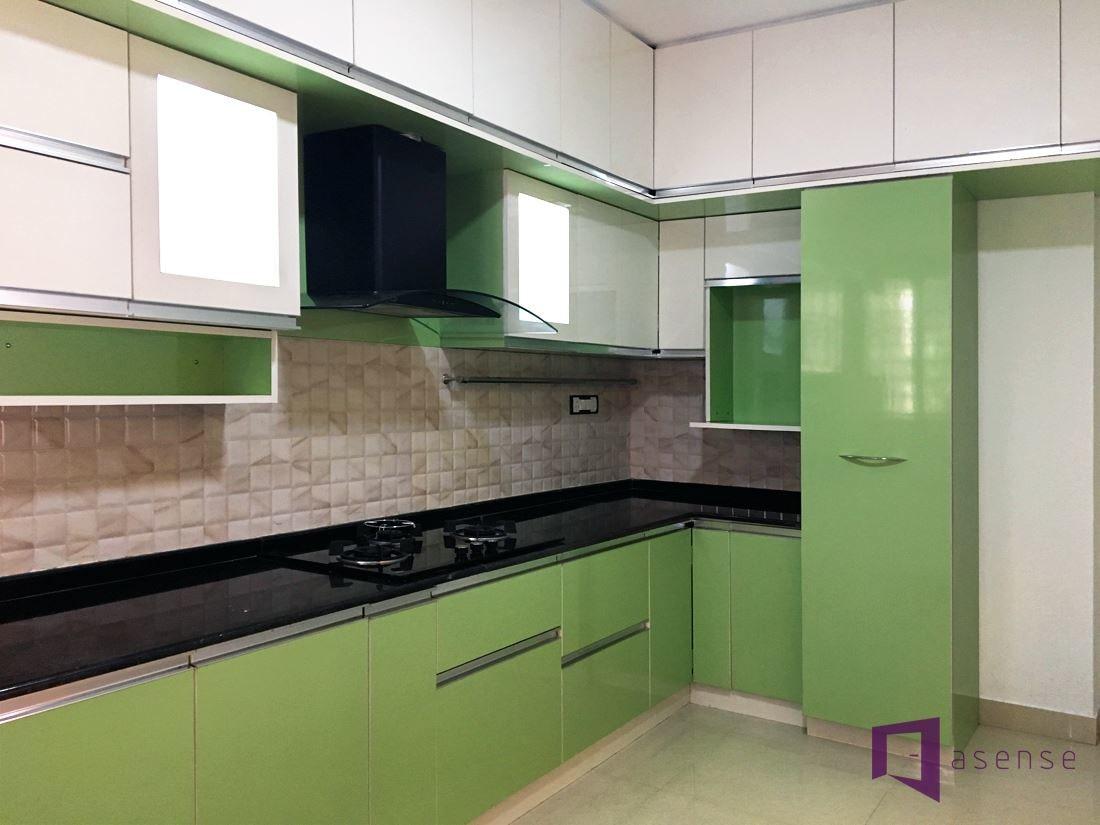 Olive Green And White Themed Modular Kitchen by Snigdha Ghosh Modular-kitchen Contemporary | Interior Design Photos & Ideas
