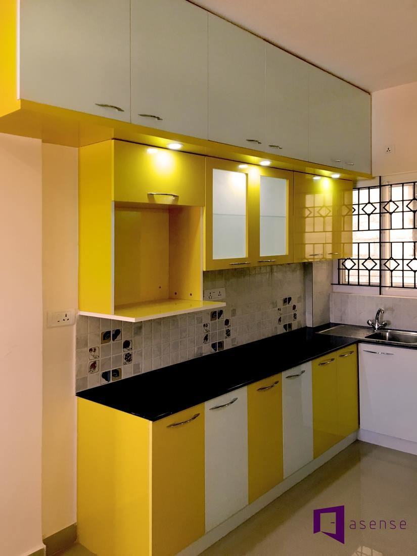 Lemon Green And White Themed Modular Kitchen Cabinets by Snigdha Ghosh Modular-kitchen Contemporary | Interior Design Photos & Ideas