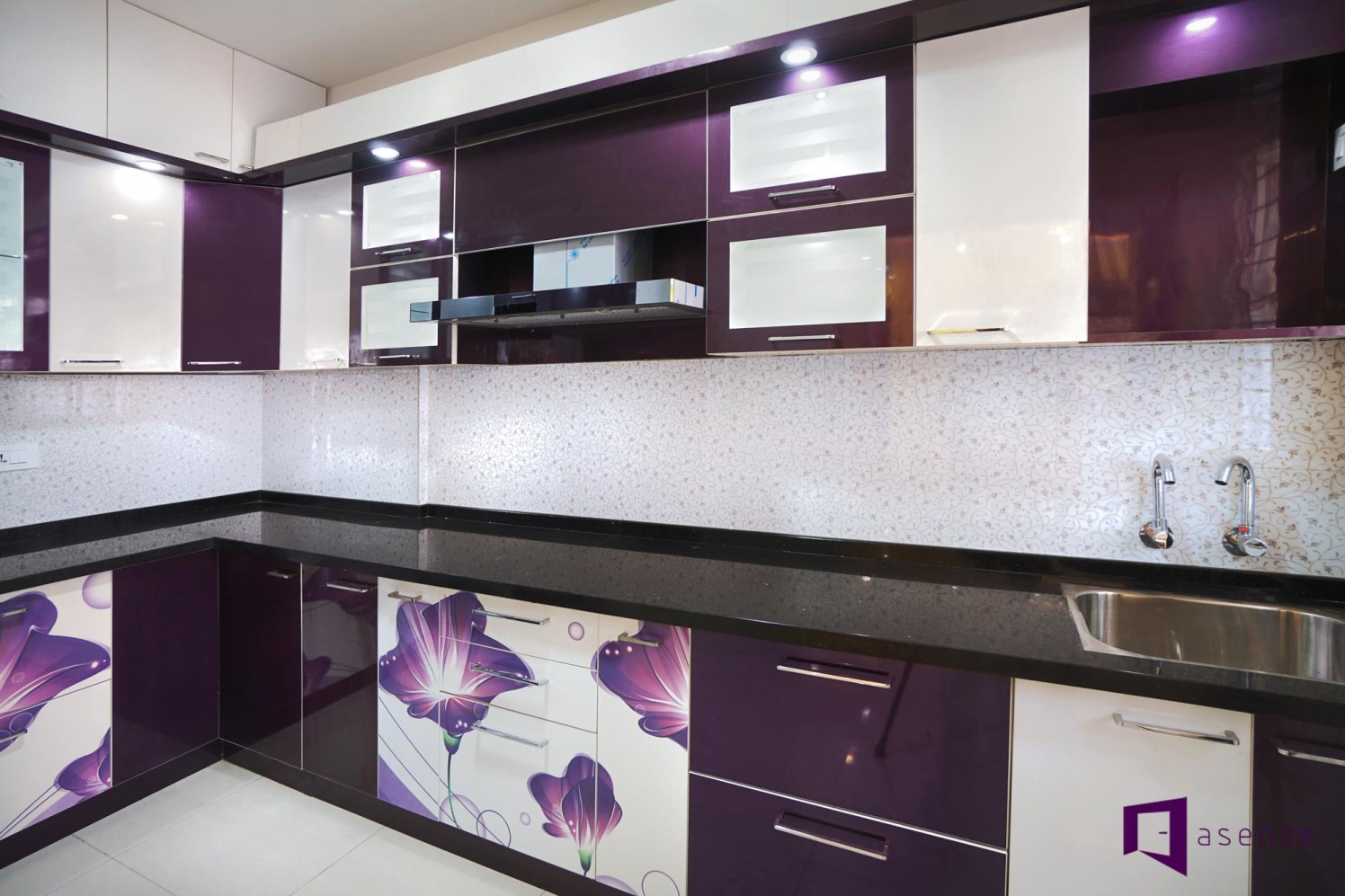 Purple And White Themed Modular Kitchen With Floral Prints by Snigdha Ghosh Modular-kitchen Contemporary | Interior Design Photos & Ideas