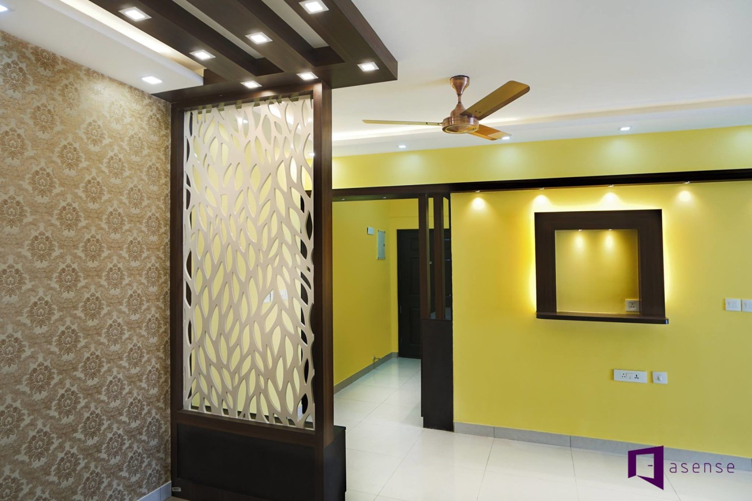 Lemon Yellow Themed Hallway With Intricate Wooden Work by Snigdha Ghosh Indoor-spaces Contemporary | Interior Design Photos & Ideas