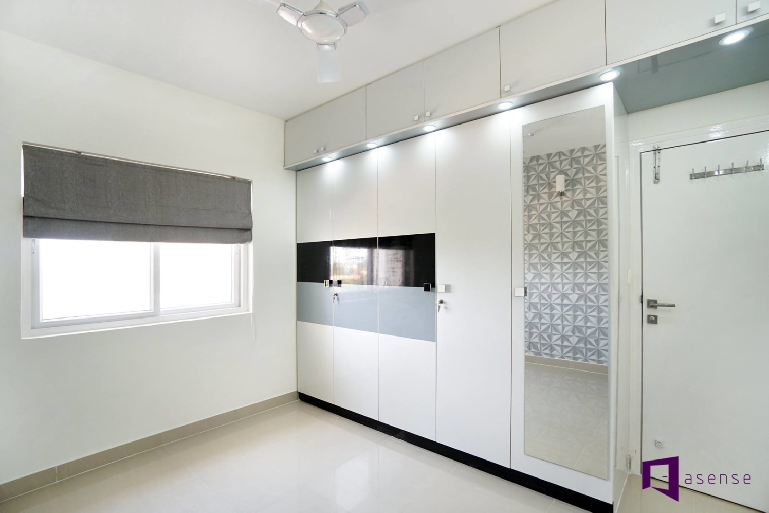 White Themed Bedroom With Fitted Wardrobe by Snigdha Ghosh Bedroom Contemporary | Interior Design Photos & Ideas