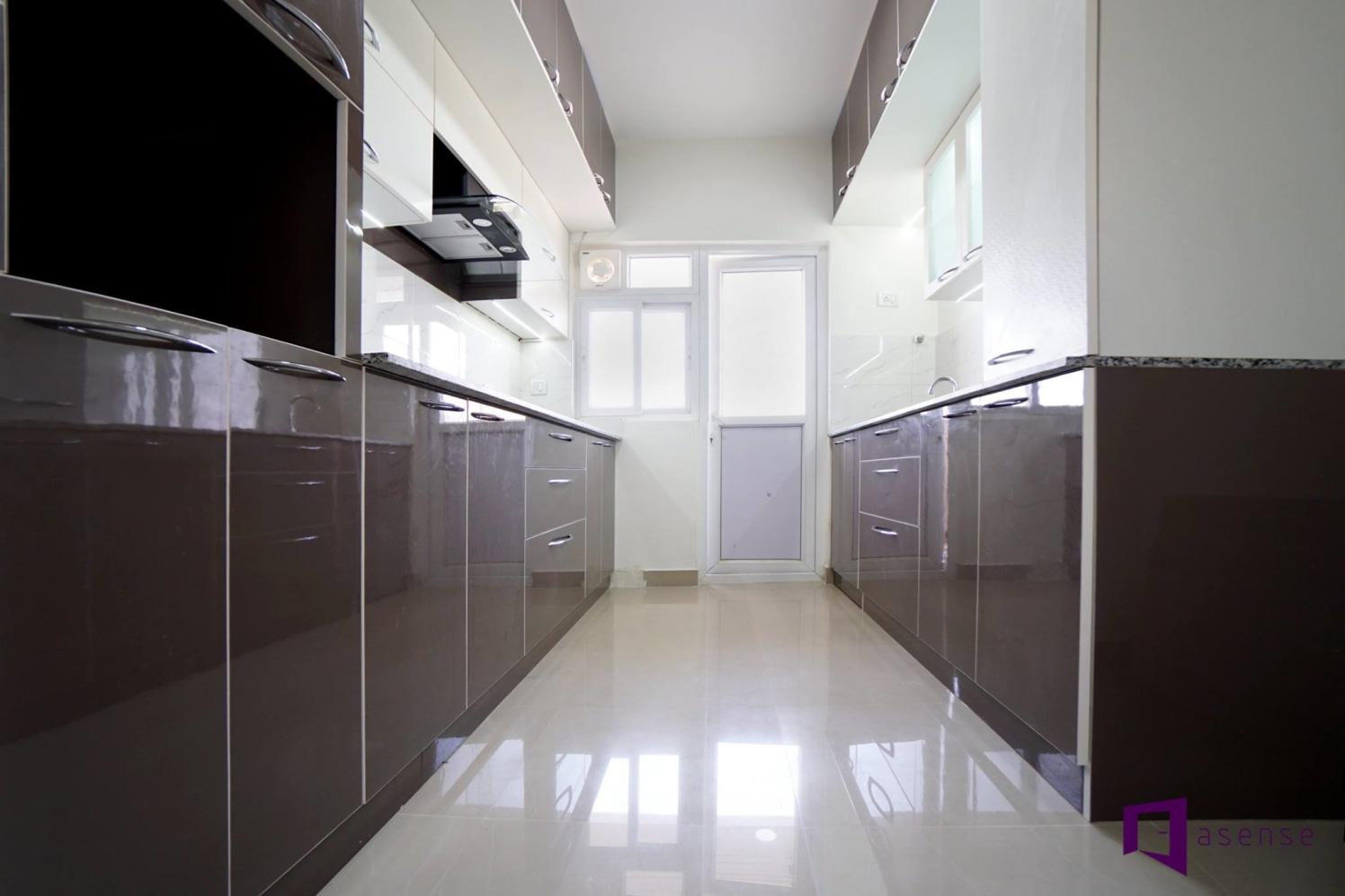 Black and White Themed Parallel Kitchen by Snigdha Ghosh Modular-kitchen Contemporary | Interior Design Photos & Ideas