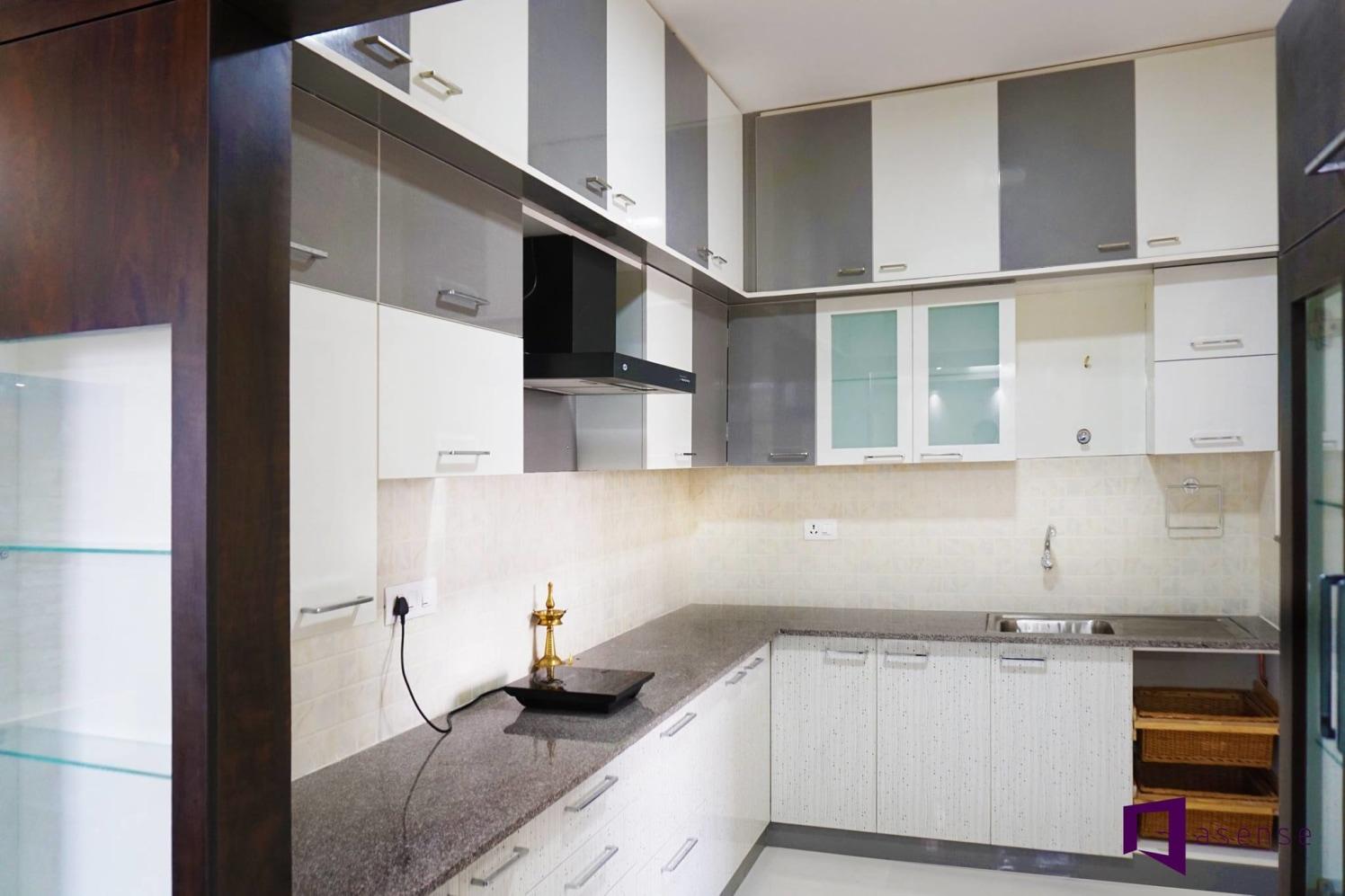 Grey And White Themed Modular Kitchen by Snigdha Ghosh Modular-kitchen Contemporary | Interior Design Photos & Ideas