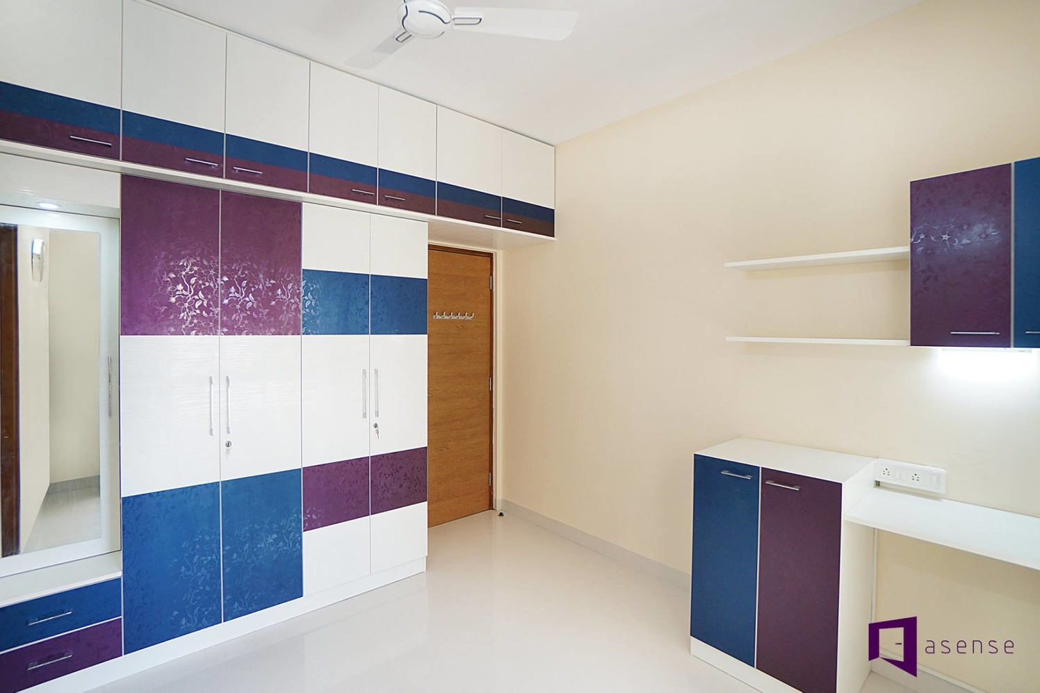 Purple , White And Blue Wardrobe by Snigdha Ghosh Bedroom Contemporary | Interior Design Photos & Ideas