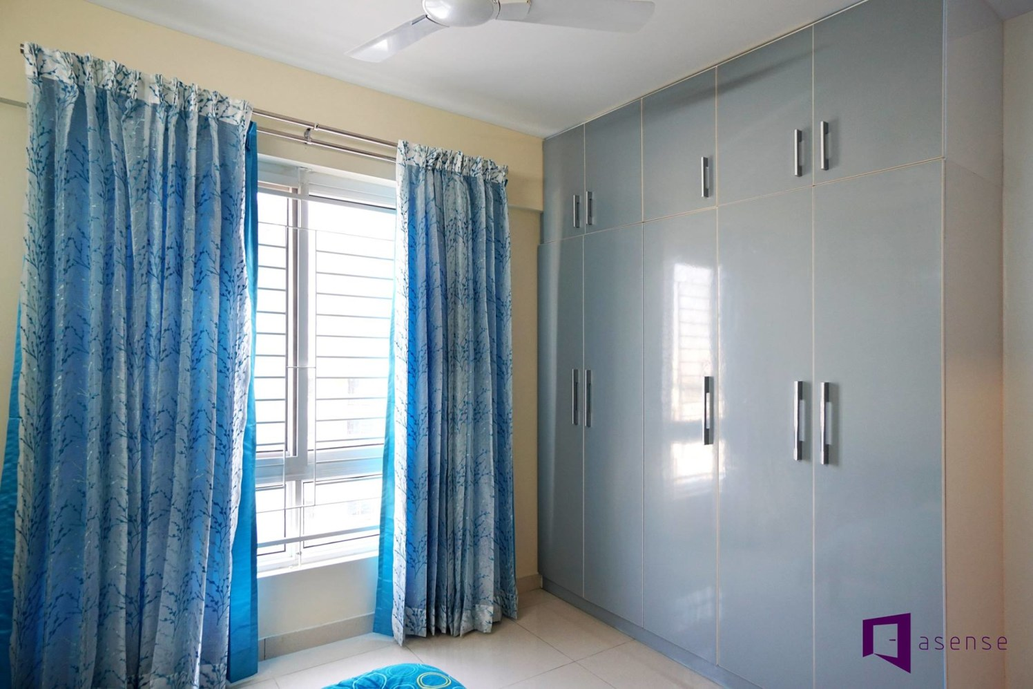 Light Blue Fitted Wardrobe by Snigdha Ghosh Bedroom Contemporary | Interior Design Photos & Ideas