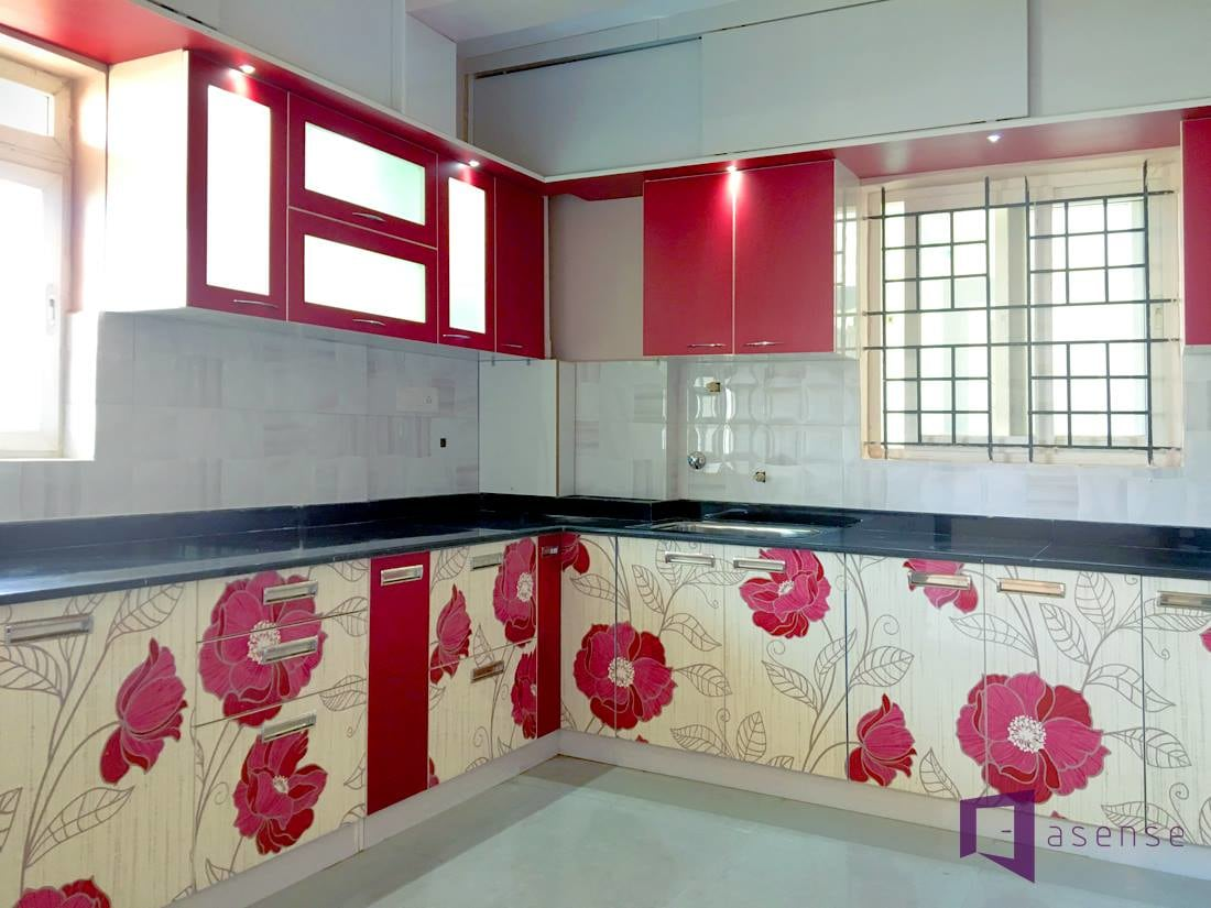 Red And White Themed Modular Kitchen WithFloral Prints by Snigdha Ghosh Modular-kitchen Contemporary | Interior Design Photos & Ideas