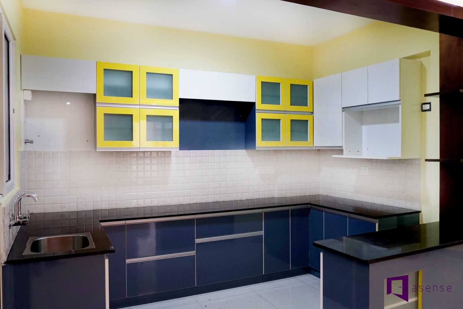 Blue And Yellow U Shaped Modular Kitchen by Snigdha Ghosh Modular-kitchen Contemporary | Interior Design Photos & Ideas