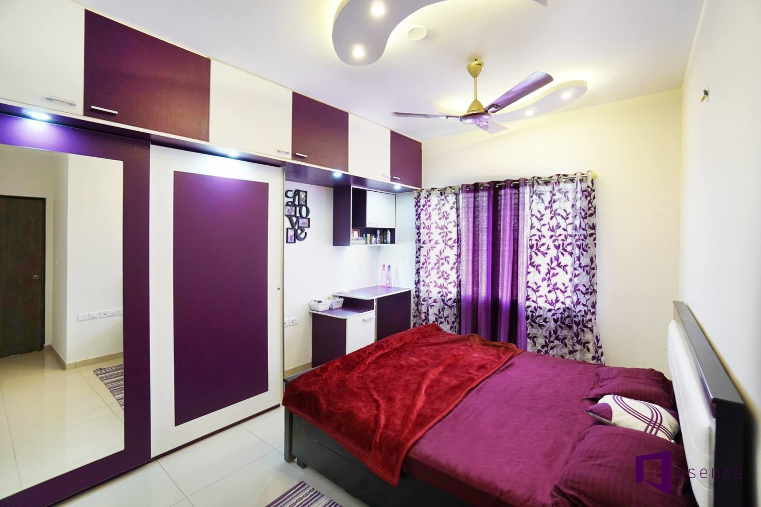 Purple And White Themed Bedroom With Wooden Bed by Snigdha Ghosh Bedroom Contemporary | Interior Design Photos & Ideas