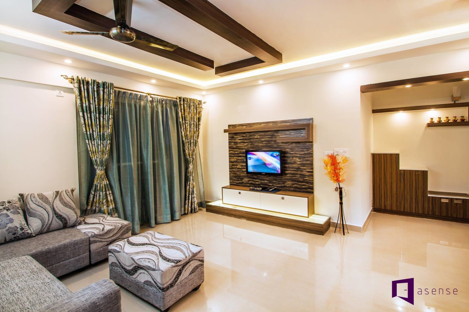 Sofas With Wave  Like Pattern And Wooden Television Cabinet by Snigdha Ghosh Living-room Contemporary | Interior Design Photos & Ideas