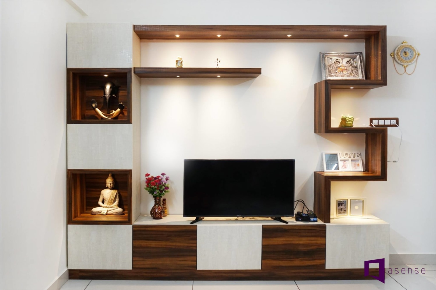 Simple Wooden Television Cabinet by Snigdha Ghosh Living-room Contemporary | Interior Design Photos & Ideas