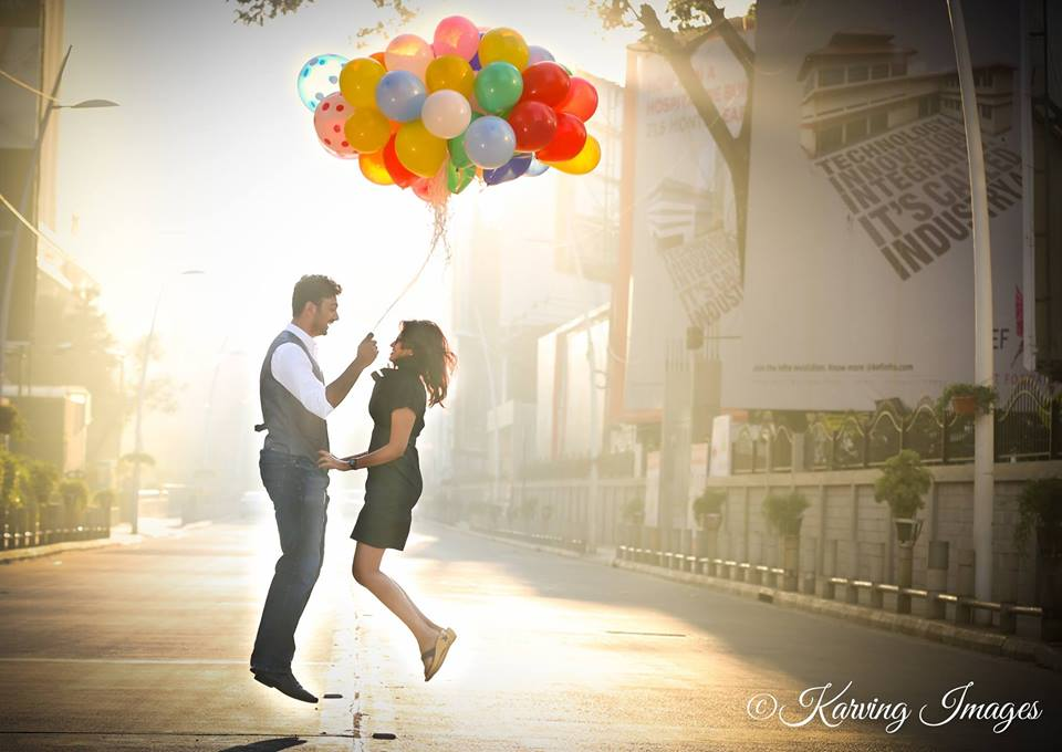 Bride and Groom To-Be Jumping With Balloons by Priyanka Wedding-photography | Weddings Photos & Ideas