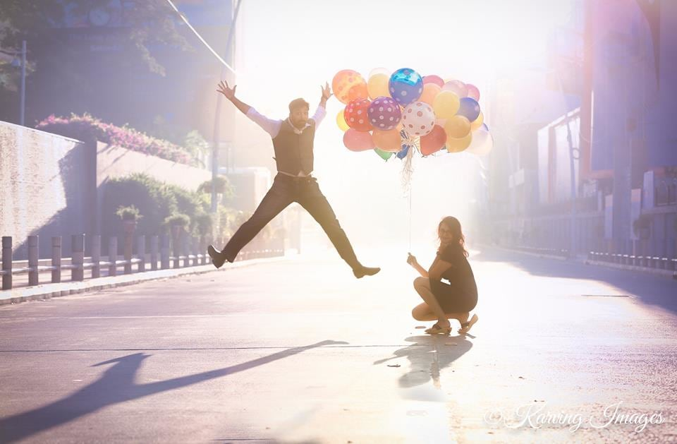 Jumping Shot of Groom To-Be With Colourful Balloon Props by Priyanka Wedding-photography | Weddings Photos & Ideas