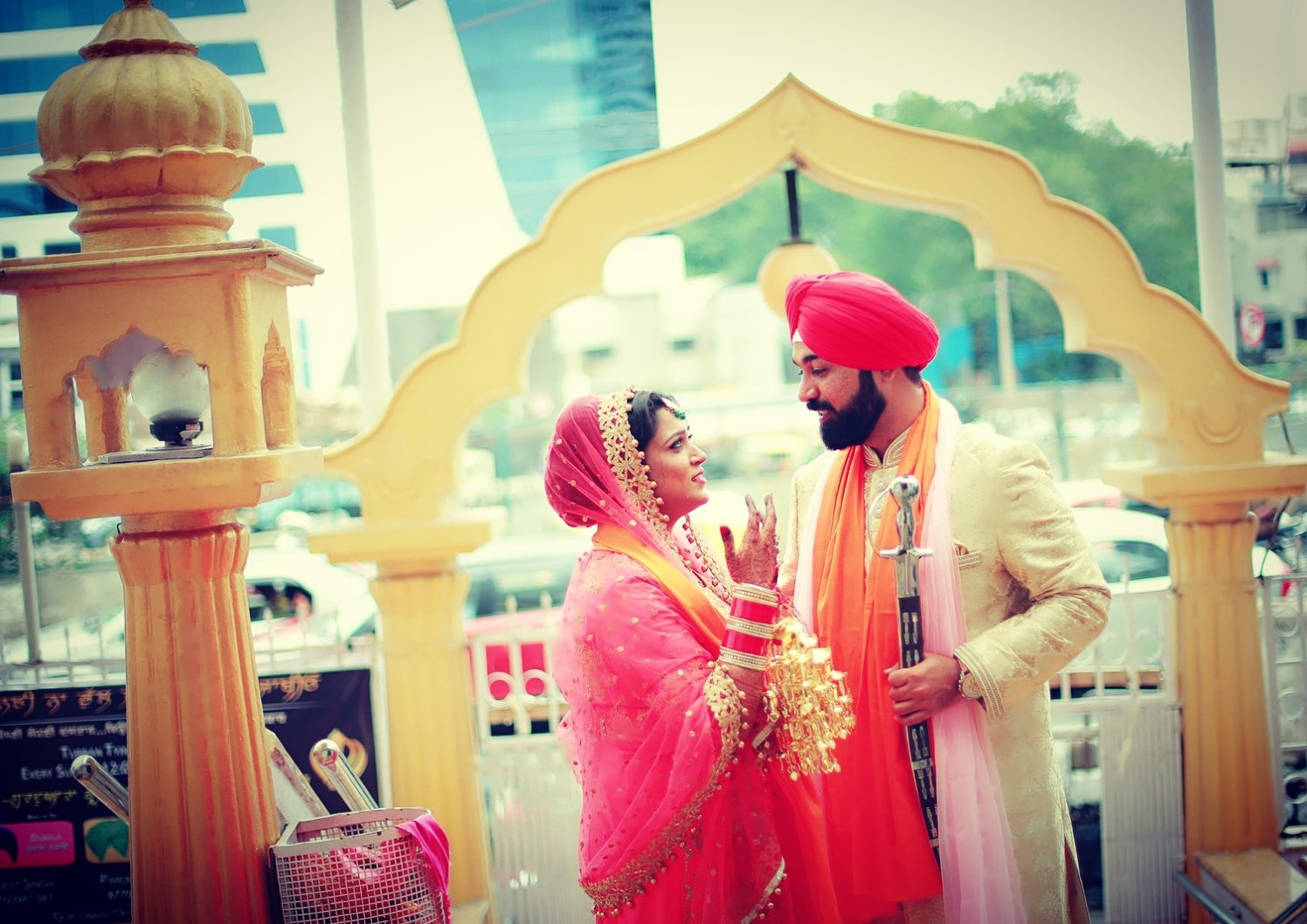 Bride and Groom Wearing Colour Coordinated Outfits by Priyanka Wedding-photography | Weddings Photos & Ideas